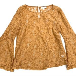 Umgee Sheer Lace Long Bell Sleeves Top